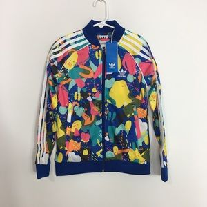Girls adidas printed track jacket